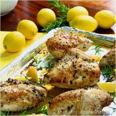 Who needs rotisserie chicken? These chicken breats are so easy to make and are fabulous on their own but also are great to have stashed away for salads, soups, sandwiches and all sorts of other things. Roasted Chicken Breasts w/ Lemon, Garlic & Rosemary