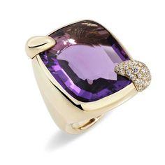 Pomellato ~ Ritratto Amethyst ring in rose gold with diamonds