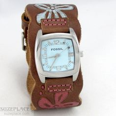 FOSSIL WOMENS WATCH BROWN LEATHER BAND BLUE DIAL DATE JR8724 WR 50MT NEW BATTERY #Fossil #Casual SuzePlace.com