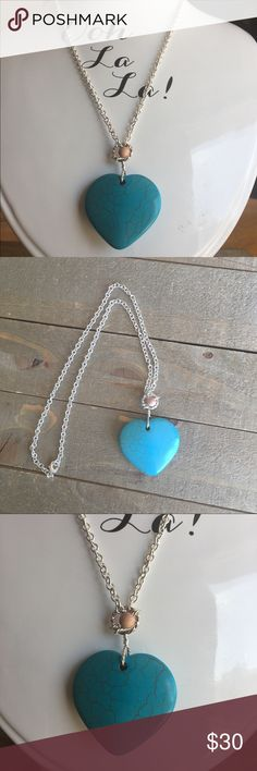 "Turquoise Howlite Gemstone Heart Necklace I designed this silver plate necklace with a natural turquoise Howlite pendant. It features a wired wrapped wood bead and an 18"" chain.  This beautiful stone has several healing properties that are listed in the photos above.  Please Note: The use of gemstones is not meant as a substitute for medical or psychological diagnosis and treatment  Always made with love, light and positive energy! Handmade Jewelry Necklaces"
