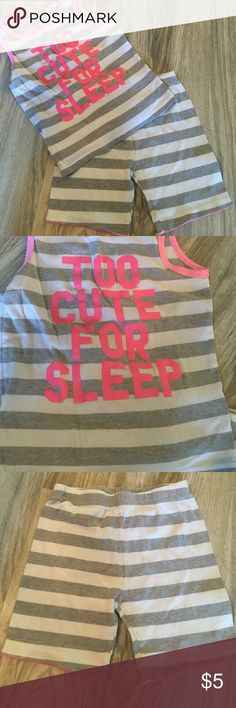 "Carter's summer pajamas Grey and white striped tank says ""too cute for sleep"" and matching striped shorts. EUC. Bundle and save! Carter's Pajamas Pajama Sets"