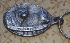 Vintage Pewter Maine Souvenir Keychain Heavy w/ Raised 3D Wolf Profiles ME.Scene