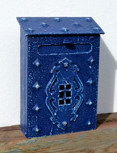 Mail Holder Vintage Mail Box In Shabby Blue by CasanovasCabinet...