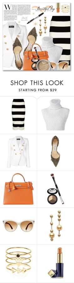 """""""The Office Look"""" by dressedbyrose ❤ liked on Polyvore featuring Milly, Baja East, Balmain, Jimmy Choo, Hermès, It Cosmetics, Tom Ford, Mikimoto, Accessorize and Estée Lauder"""