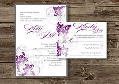 DIY+Purple+and+Grey+Wedding+Invitation+Templates+by+ShastasShop,+$10.00