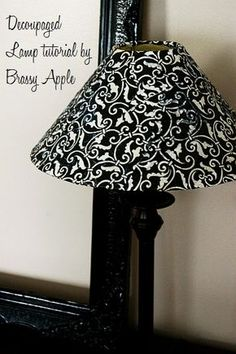 How-to decoupage a lamp shade by Megan.  Found on:  brassyapple.com/2011/03/shady-tutorial.html