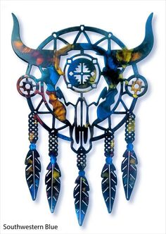 Southwest Dreamcatcher - Handcrafted, American made! Native American Totem, Native American Headdress, Dream Catcher Native American, Native American Pictures, Native American Artwork, Bull Skull Tattoos, Bull Skulls, Southwestern Art, Southwestern Decorating