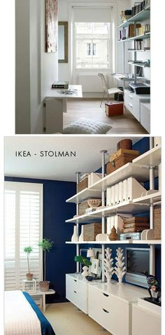 Inspiration - Shelving and Small Office space idea