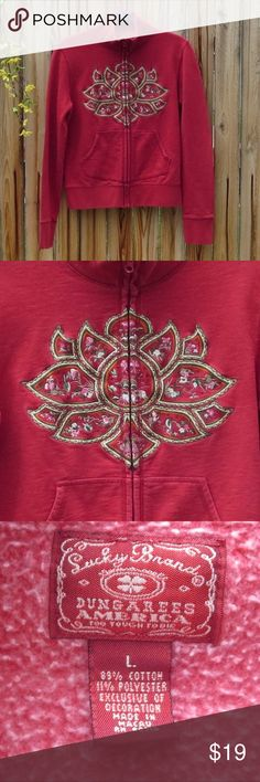 *Lucky Brand L REd Lotus/Tibet zip up* Keep warm with this beautiful Lucky Brand Lotus zip up sweater. In good used condition, slight zipper peeling and minimal fading. Bundle with another item from my closet to SAVE 10% and pay only 1 shipping fee! Lucky Brand Sweaters
