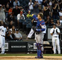 Rangers catcher A.J. Pierzynski acknowledges Sox fans. 08/23/13