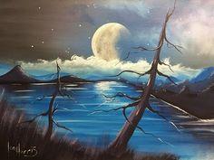 acrylic moon over lake - YouTube