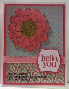 Blended Bloom Woodmount Stamp Regarding Dahlias Stamp Set Gold Embosing Powder Regal Rose Stampin Write Marker Strawberry Slush Whisper White Designer Series Paper Light Pink Grosgrain Ribbon to match Artisan Label