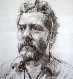 Colin Davidson............Study of Glen Hansard 2010 crayon on paper 62 x 57 cm