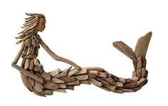 """Buy 21""""L x 13""""H Driftwood Sitting Mermaid Wall Decoration: Wall Sculptures - ✓ FREE DELIVERY possible on eligible purchases"""