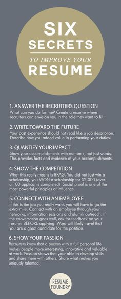 Six amazing secrets to improve your resume. CLICK IMAGE FOR MORE Six amazing secrets to improve your resume. Six amazing secrets to improve your resume. The post Six amazing secrets to improve your resume. appeared first on Cafe Home. Create A Resume, Resume Help, Job Resume, Resume Tips, Cv Tips, Resume Ideas, Resume Examples, Sample Resume, Business Resume