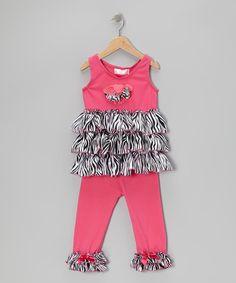 Look at this #zulilyfind! Hot Pink Zebra Tunic & Leggings - Infant, Toddler & Girls #zulilyfinds
