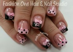 #prettynails #3dbows #coloredacrylic #handpainted #nailsbytammy