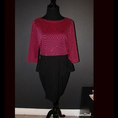 Fuschia&black printed peplum dress Peplum style. Worn once. Sz. 14. NOT FROM MISS GUIDED JUST USED BRAND FOR EXPOSURE Missguided Dresses
