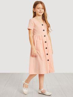 Girls Button Up Pocket Front Shirt Dress - Flower Girl Dresses, Frocks For Girls, Little Girl Dresses, Girls Dresses, Flower Girl Dresses, Girls Fashion Clothes, Kids Fashion, Fashion Dresses, Stylish Dresses, Cute Dresses