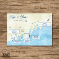 Custom Wedding Map, Event Map, Directions, Locations - PRINTABLE file - Enclosure Card, Insert with a map, Itinerary map - digi watercolors by DIVart on Etsy