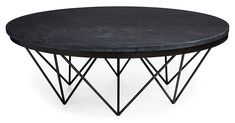 This round coffee table is anchored by a captivating geometric metal base. The top, made of dark gray stone, pairs beautifully with the frame below.Founded. Circular Coffee Table, Stone Coffee Table, Coffee Table Base, Painted Coffee Tables, Black Coffee Tables, Black Round Table, Black Accent Table, Round Accent Table, Round Side Table