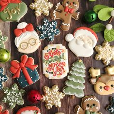 Santa & Mrs. Claus, Trees, Snowflakes and Reindeer Christmas Cookies