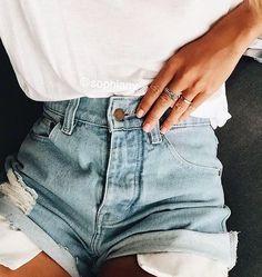 white tees + cuffed denim shorts