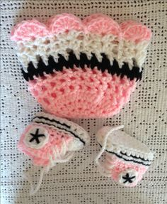 A personal favorite from my Etsy shop https://www.etsy.com/listing/218469241/crochet-pink-converse-booties-and-beanie