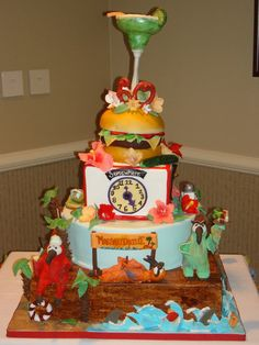 Amazing Margaritaville cake - inspiration for Jimmy Buffett tailgate! Fancy Cakes, Cute Cakes, Crazy Cakes, Beautiful Cakes, Amazing Cakes, Cake Inspiration, Cheeseburger In Paradise, In Loco, Jimmy Buffett