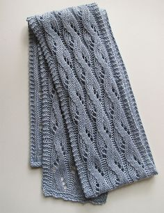 Free Knitting Pattern: Falling Water scarf pattern by Bonnie Sennott. Wavy lace pattern framed by a crisp garter stitch edge on all sides.