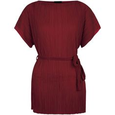 Burgundy Pleated Tie Waist Tunic (1.360 RUB) ❤ liked on Polyvore featuring tops, tunics, red top, red tunic, pleated top, pleated tunic and burgundy tunic