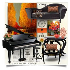 """""""Color Challenge: Orange & Black"""" by esch103 ❤ liked on Polyvore featuring interior, interiors, interior design, home, home decor, interior decorating, Trilogy, Furniture of America, Pier 1 Imports and Daum"""