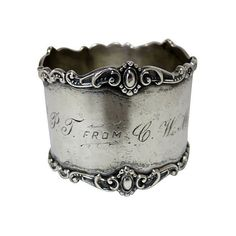 Pre-Owned Antique Sterling Silver Napkin Ring ($259) ❤ liked on Polyvore featuring home, kitchen & dining, napkin rings, serveware, silver, antique sterling silver napkin rings, sterling silver napkin rings, antique napkin rings and sterling napkin ring