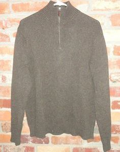 $44.95 OBO Men's J. Crew Brown Half Zip Cashmere Blend Sweater Size: Medium