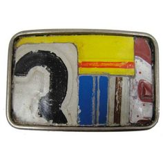 Belt buckle made from vintage license plates.
