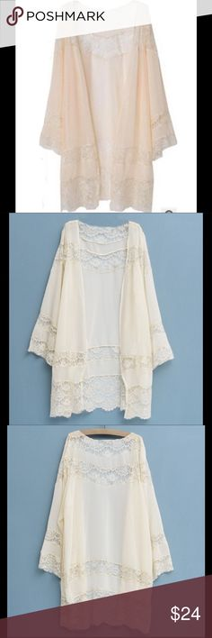 Lace Kimono Cardigan Beige, Medium-XL, NWT This item is a size large, but because of the loose flows fit, it can work for M, L, or XL.  This item is not Free People, it was purchased from a  boutique. Free People Tops Blouses
