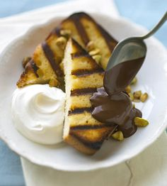 Grilled Pound Cake with Espresso Chocolate Sauce  http://www.bhg.com/recipe/chocolate/grilled-pound-cake-with-espresso-chocolate-sauce/?socsrc=bhgpin042712GrilledPoundCake