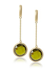Long Chain Olive Drop Earrings