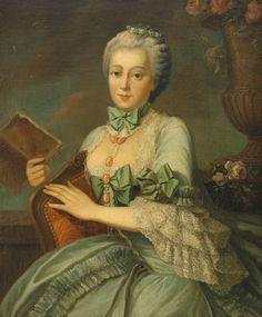 18th c François-Hubert Drouais - Portrait of a a noblelady in blue dress
