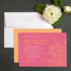Blooms & Bees Wedding Invitations by Ellinée
