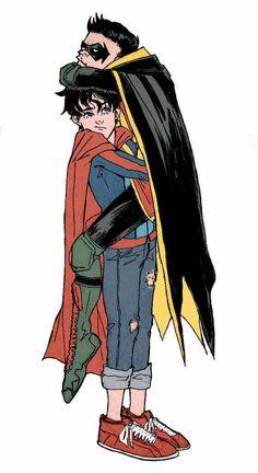 "azaluz: ""You know he's friends with Damian Wayne when he was kidnapped by him. Superhero City, Superhero Characters, Superman Family, Batman And Superman, Hq Marvel, Marvel Dc Comics, Damian Wayne, Tim Drake, Nightwing"