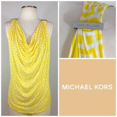 Michael Kors Lemon White Sexy Drape Front Printed Sleeveless Knit Logo Top $69 | eBay