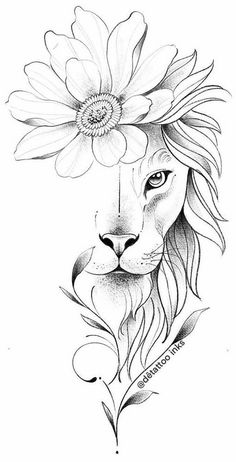 Art Drawings Sketches Simple, Pencil Art Drawings, Animal Drawings, Tattoo Drawings, Body Art Tattoos, Leo Tattoos, Flower Sketches, Tatoos, Girl Spine Tattoos