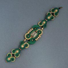 Emerald, bransoletka sutasz - soutache bracelet