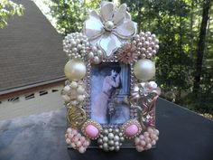 Shabby Chic Pink Rhinestone Vintage Jeweled Glass Picture Frame. $49.95, ♥ via Etsy.