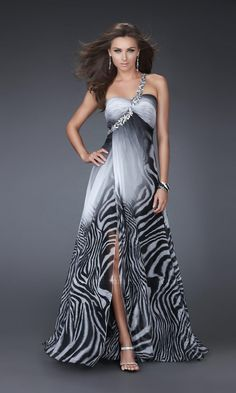 One Shoulder Black and White Ombre Print Dress by La Femme, too beautiful for words, love this....
