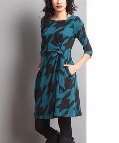 Another great find on #zulily! Emerald Houndstooth Faux Wrap Dress by Reborn Collection #zulilyfinds