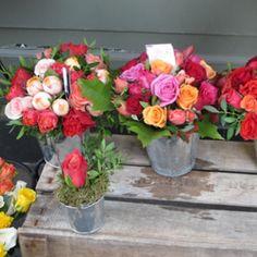 Roses in a simple metal bucket