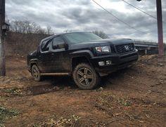 """Andrew Ells on Instagram: """"Testing out new tires #hondaridgeline #hondatrucks #honda #liftedridgeline #ridgelineownersclub #ridgeline #ridgelinesport #mudonthetires…"""" Honda Ridgeline, Cars And Motorcycles, Grid, Trucks, Instagram, Truck"""