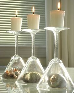 Candle Vignettes with Glasses, Trays and Seashells